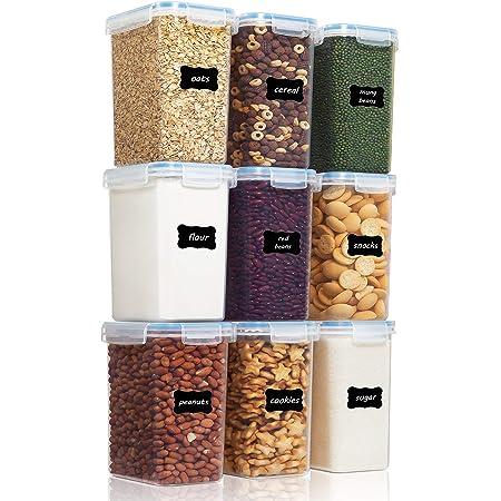 Vtopmart 2L boîtes de Conservation Alimentaire sans BPA de Nourriture en Plastique avec Couvercle,Ensemble De 9+24 Étiquettes,pour Céréales,Farine