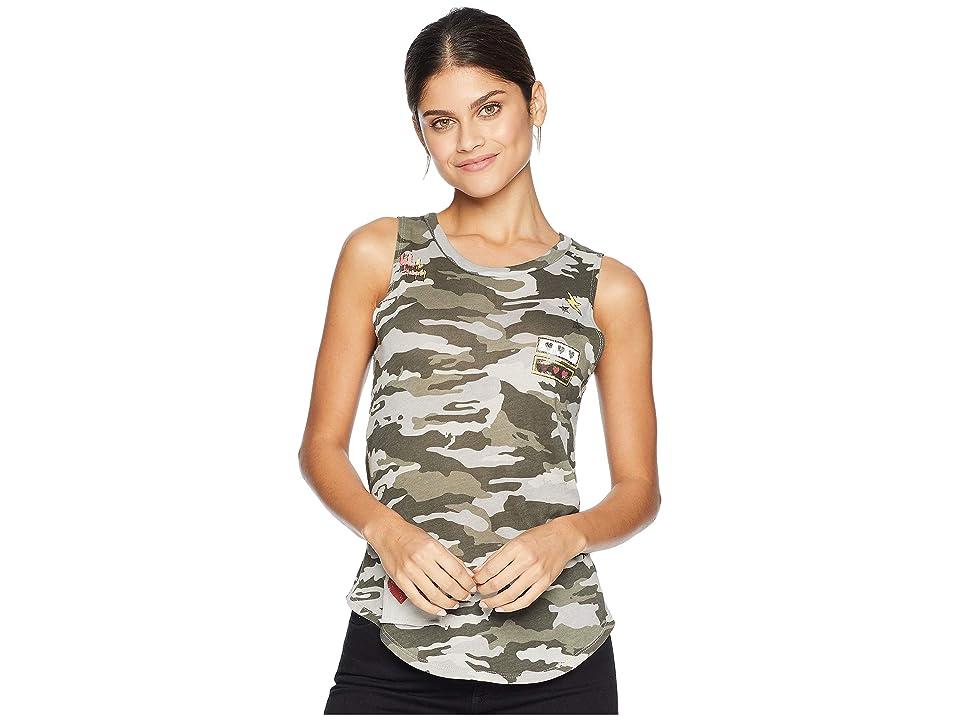 Chaser Gauzy Cotton Jersey Basics Shirttail Muscle (Camo) Women