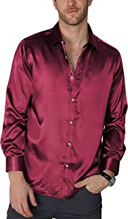 VICALLED Men's Satin Luxury Dress Shirt Slim Fit Silk Casual Dance Party Long Sleeve Fitted Wrinkle Free Tuxedo Shirts