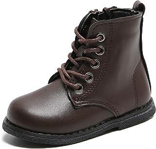 حذاء YWPENGCAI برباط جانبي للأطفال حذاء دراجة نارية للأولاد والبنات الكاحل جلد ركوب الخيل