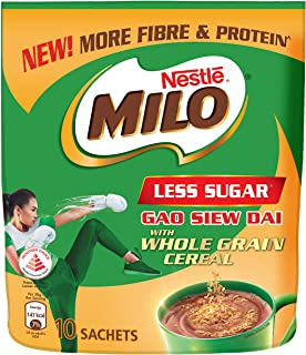 MILO Less Sugar with Whole Grain Cereal 10x36g,  12 g