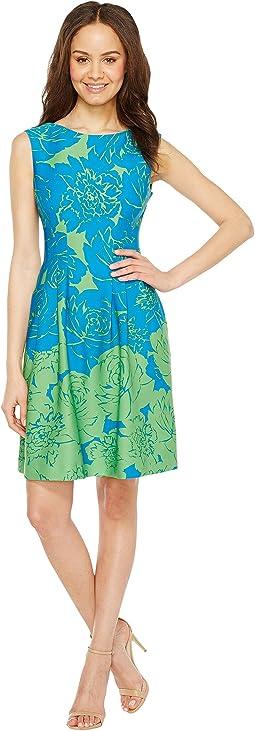 Rose Print Fit & Flare Scuba Dress