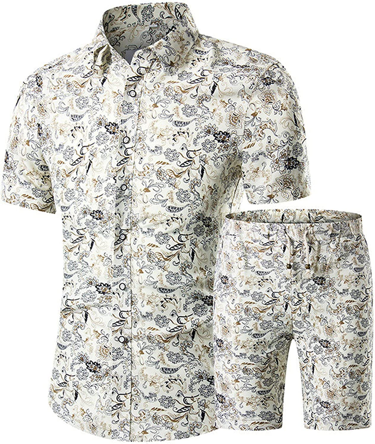 Hawaiian Tracksuit Men Casual Fashion Floral Print Shirts+Shorts Set 2 Pieces Set Beach Suits Male Cool Clothing