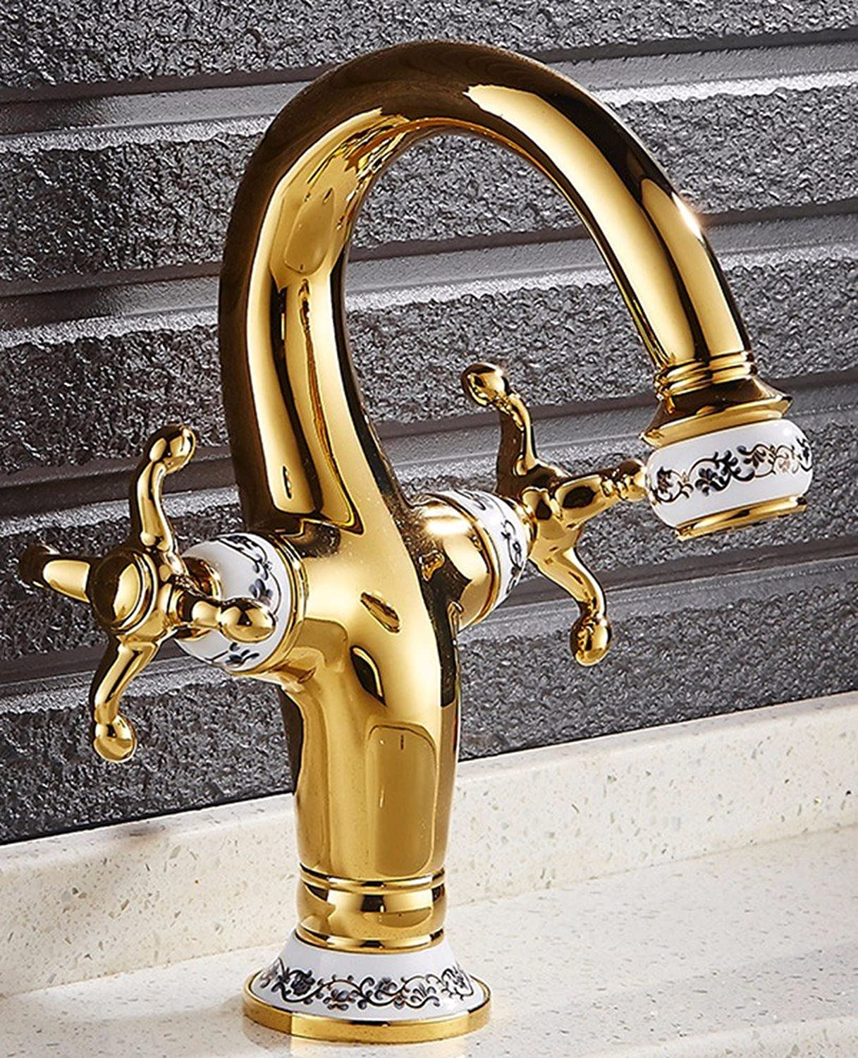 Hlluya Professional Sink Mixer Tap Kitchen Faucet Brass, gold plated, basin, Single, Double, hot and cold water faucets, 1