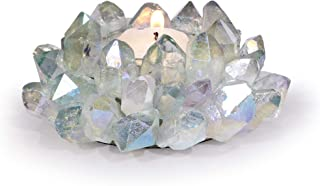 KALIFANO Natural Aqua Quartz Cluster Crystal Tealight Candle Holder - Decorative High Energy Geode with Healing Effects