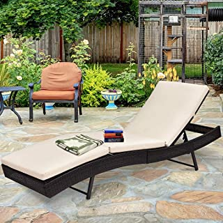 Tangkula Patio Reclining Chaise Lounge, Outdoor Beach Pool Yard Porch Wicker Rattan Adjustable Backrest Lounger Chair