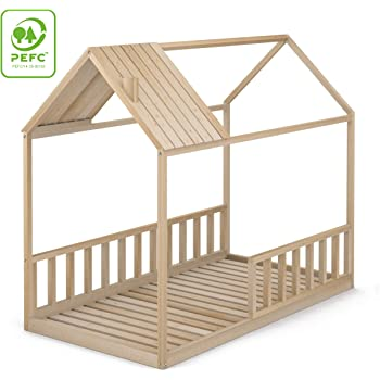 en.casa] Cama para niños de Madera Pino - 200x90cm - Cama Infantil - Forma de casa - Color Verde Menta Lacado Mate: Amazon.es: Hogar