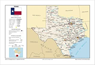 13x19 Texas General Reference Wall Map - Anchor Maps USA Foundational Series - Cities, Roads, Physical Features, and Topography [ROLLED]