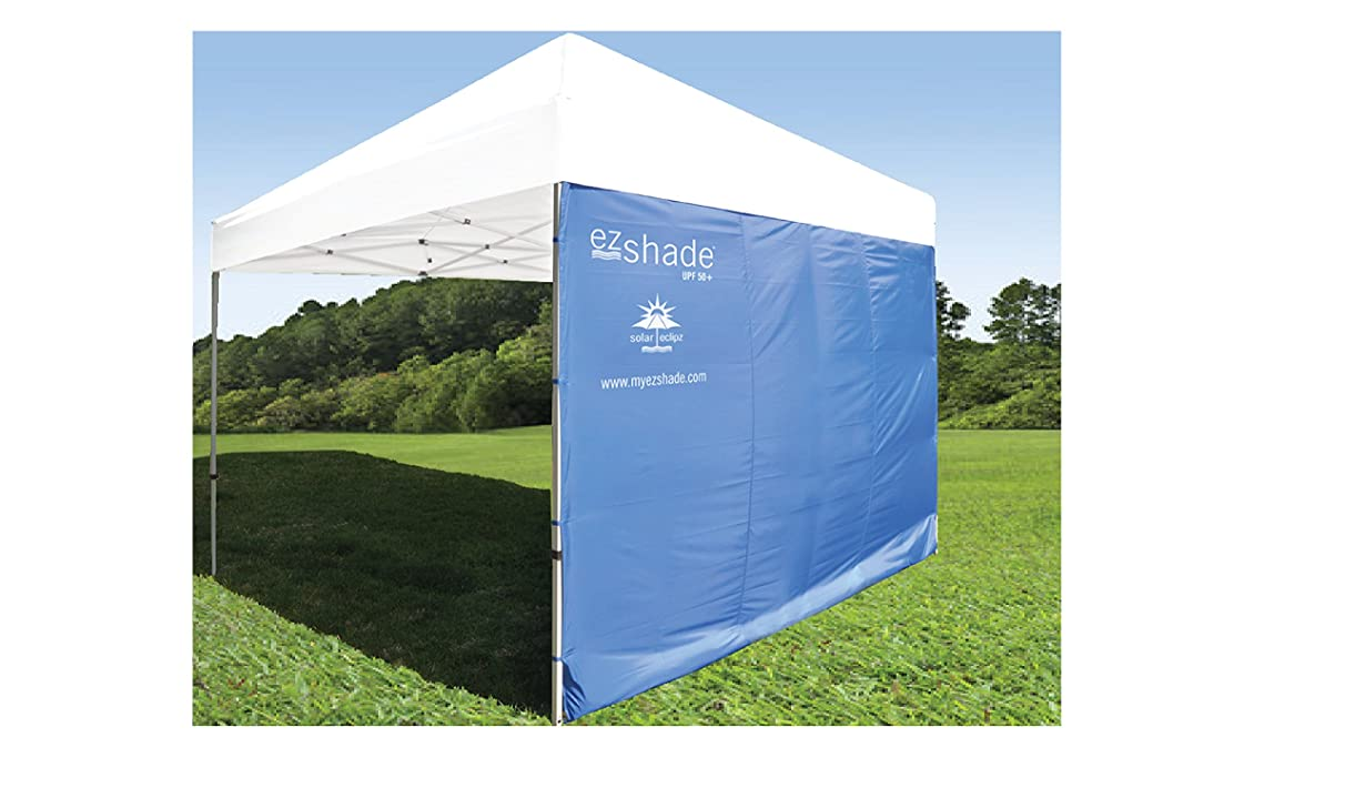 SUPERIOR SUN PROTECTION: ezShade Canopy Sunshield BLOCKS 99% UVA/UVB rays - DOUBLES shade, keeps you COOLER, and INSTANTLY ATTACHES to ANY 10x10 nylon/poly canopy, CANOPY NOT INCLUDED