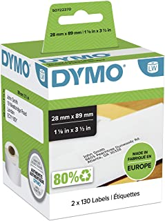 DYMO LW Address Labels, 28mm x 89mm, Self-Adhesive, Roll of 130, 2 Pack (260 Easy-Peel Labels) for LabelWriter Label Maker...