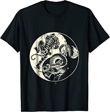 3D Printed T-Shirts Dragon and Tiger Fighting Short Sleeve Tops Tees