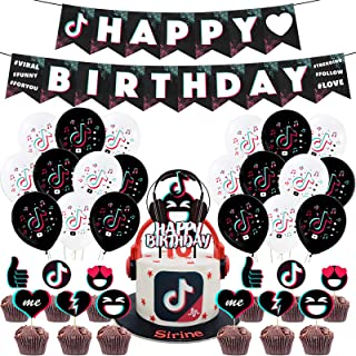 TIK Tok Birthday Party Decorations, TIK Tok Party Supplies, Music Themed Party Decorations for Girls, 46 Pcs
