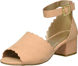 Qupid Women's Low Chunky Heel Heeled Sandal