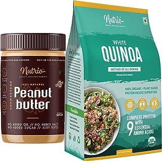 Nutrio 100% Natural Peanut butter 500gm(Crunchy) + 100% Organic Quinoa 500gm Combo Pack (USDA Certified) (500GM + 500GM)
