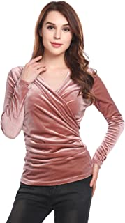 Womens Long Sleeve Wrap Top Deep V Neck Drape Tshirt with Side Shirring