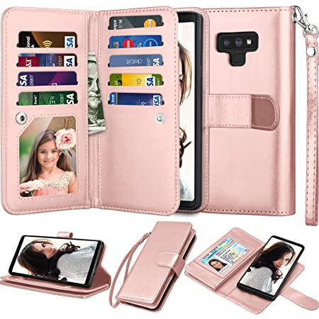 Njjex For Galaxy Note 9 Wallet Case, For Note 9 Case, Luxury PU Leather [9 Card Slots] ID Credit Folio Flip Cover [Detachable][Kickstand] Magnetic Phone Case & Wrist Strap For Samsung Note 9 -RoseGold