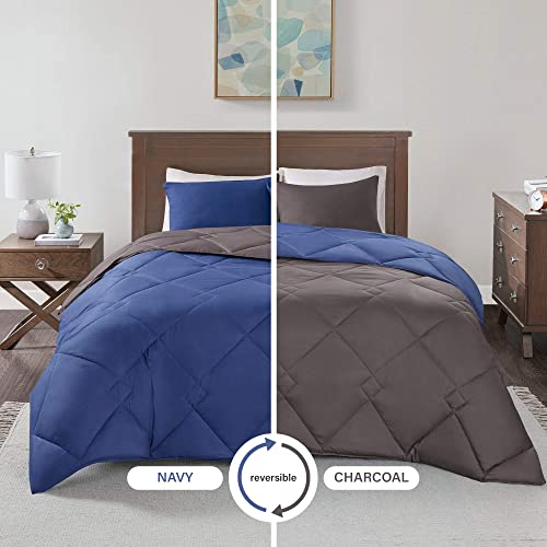 Comfort Spaces – Vixie Reversible Goose Down Alternative Comforter Mini Set - 2 Piece – Navy