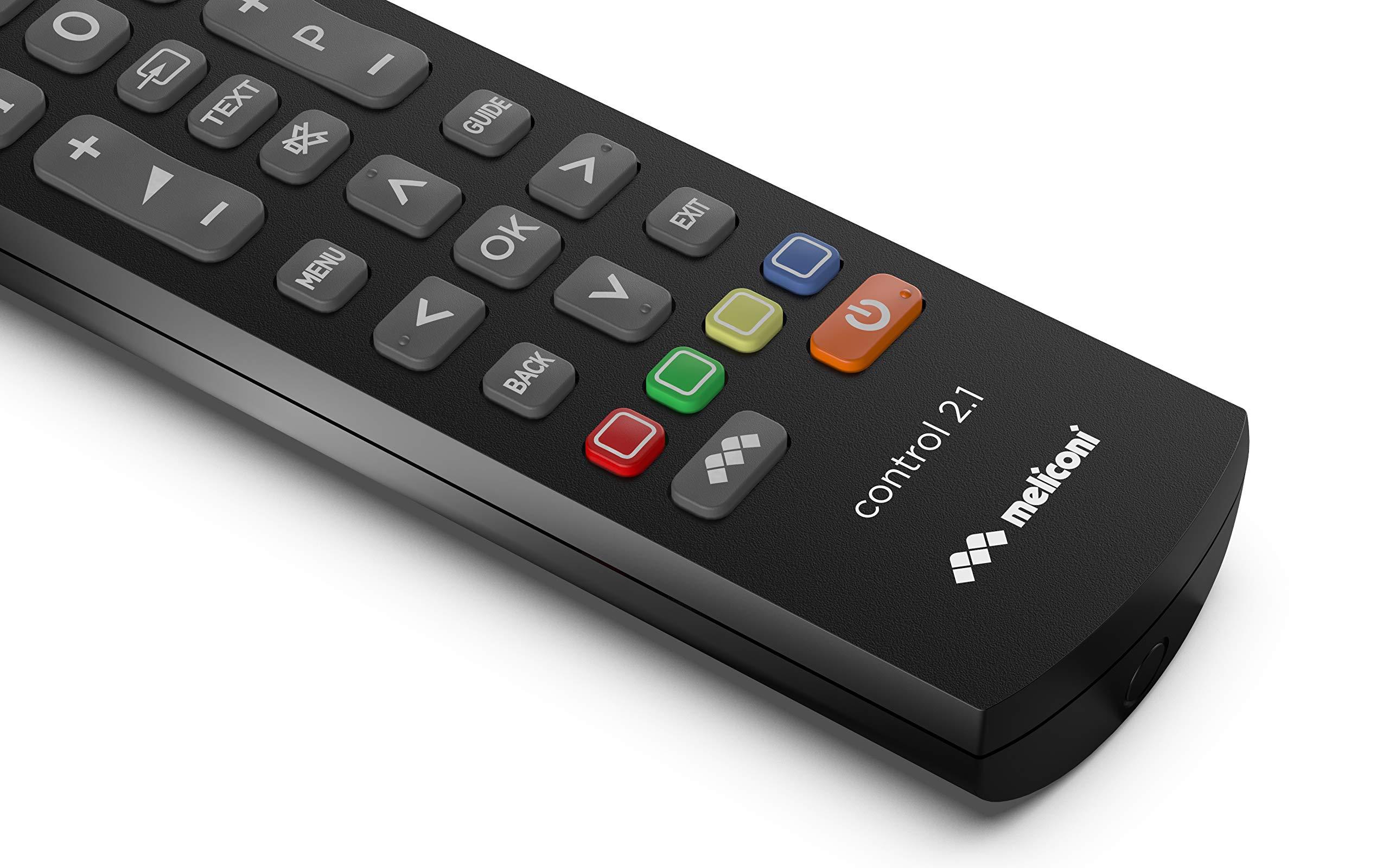 Meliconi Control 2.1 - Mando a Distancia (STB,TV, IR inalámbrico, Botones, Negro): Amazon.es: Electrónica