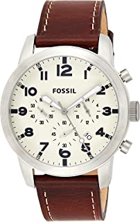 Fossil Men's Quartz Watch, Analog Display and Leather Strap Fs5146, Brown Band