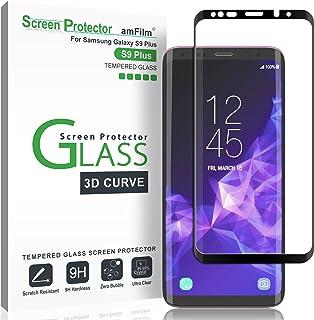 Protector de Pantalla Galaxy S9 Plus, amFilm Anti-Burbujas (3D Curvo) Cristal Vidrio Templado Protector de Pantalla para Samsung Galaxy S9 Plus (Negro)