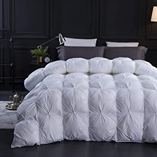 Three Geese Pinch Pleat Goose Down Comforter King Size Duvet Insert 750+ Fill Power 100% Cotton Fabric Hypo-allergenic Down Proof with 8 Tabs