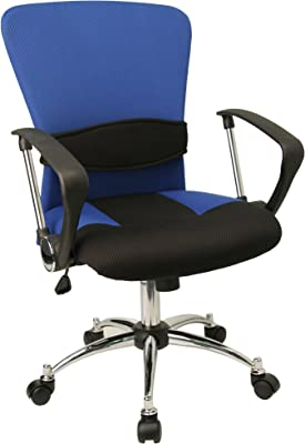 Flash Furniture Mid-Back Blue Mesh Swivel Task Office Chair with Adjustable Lumbar Support and Arms