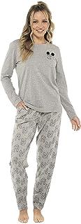 Slumber Hut® Ladies and Girls Cockapoo Dog Printed Jersey Pyjama Set Pocket Print Pom Pom Ears - Grey - Matching Womens Ch...