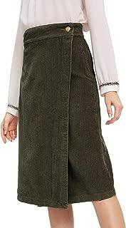 Women's Elegant Workwear Wrap Corduroy Sheath Midi Skirt