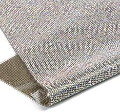 240X400mm Crystal Rhinestone Trim Hotfix Strass Crystal Mesh Banding Bridal Beaded Applique In Sheet For Dresses with 2mm Rhinestones (Crystal-AB)