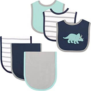 Hudson Baby 6 Piece Bib and Burp Cloth Set, Blue Dino