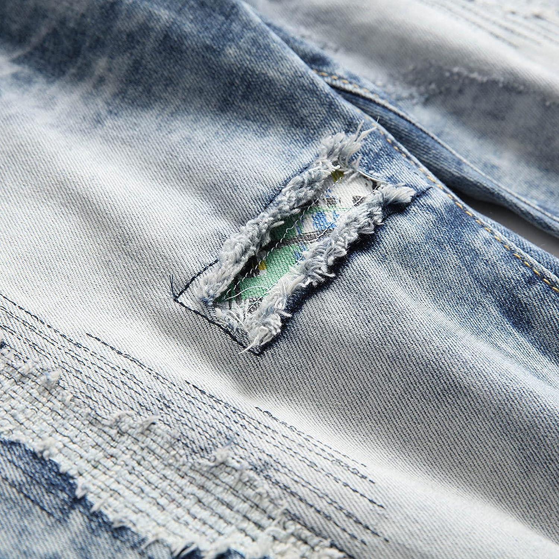 Men's Skinny Jeans Pants Retro Striped Slim Denim Pants Outdoor Casual Folds Distressed Fashion Trousers - Limsea