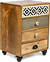 Boho Traders Infinity Bedside Table Infinity 4 Drawers Wooden Bedside Table, Natural