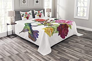 Lunarable Birds Bedspread, Hand Drawn Ornate Colorful Roses and Watercolor Hummingbirds Romantic Illustration, Decorative Quilted 3 Piece Coverlet Set with 2 Pillow Shams, Queen Size, Sage Green