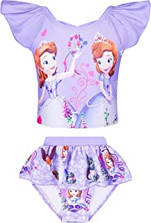 Girls Bathing Suits Two Piece Princess Swimsuit Toddler Tankini Swim Set for 3-8 Years Kids Beach Swimwear