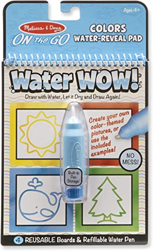 Melissa & Doug On the Go Water Wow! Colors & Shapes Activity Pad (Reusable Water-Reveal Coloring Book, Refillable Wat...