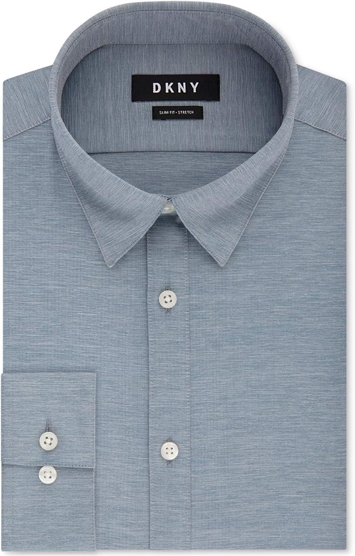 DKNY Men's Slim-Fit Performance Active Stretch Streak Solid Dress Shirt