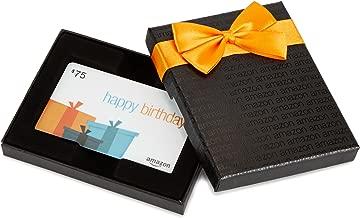 Amazon.com $75 Gift Card in a Black Gift Box (Birthday Presents Card Design)
