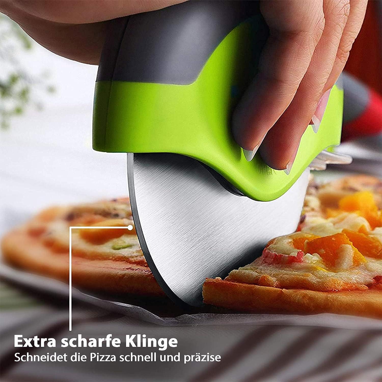 Oriamo Roulette /à pizza en mat/ériaux de qualit/é sup/érieure avec poign/ée ovale pour une prise en main confortable et protection des doigts rouge