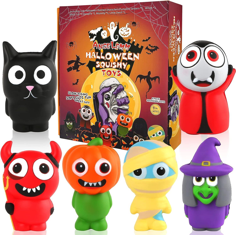 ANGELEMM 6 Pcs Halloween Squishy Gigante Kawaii Juguetes Descompresión Pack Squishies Baratos Slow Rising Squishes Estrés Alivio Suave Juguete Antiestres Squeeze para Niños