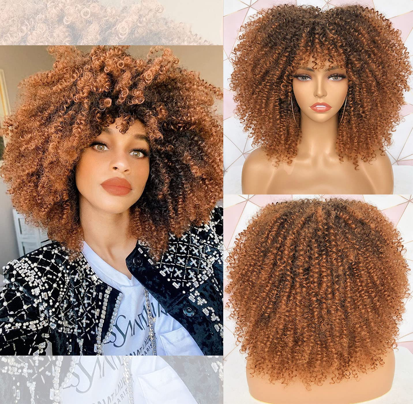 CurlCoo Max 62% OFF Short Cheap super special price Curly Afro Wigs With Women C Kinky for Bangs Black
