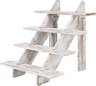 MyGift 4-Tier Whitewashed Wood Stair Shelf & Display Riser