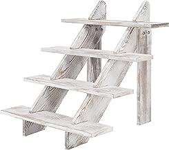 MyGift 4-Tier Whitewashed Wood Stair Shelf & Display Riser