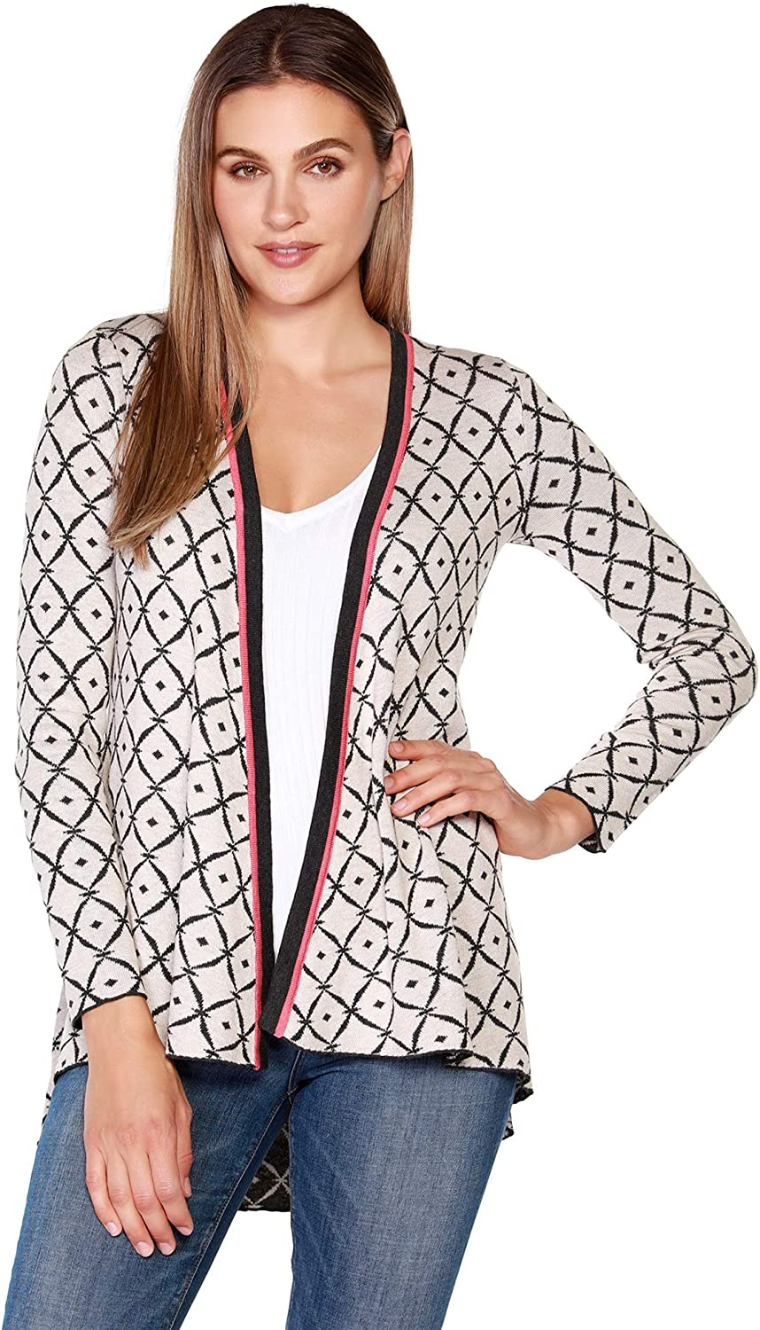 Belldini Women's Long Sleeve Geometric Pattern Open Front Cardigan with Contrast Trim Detail