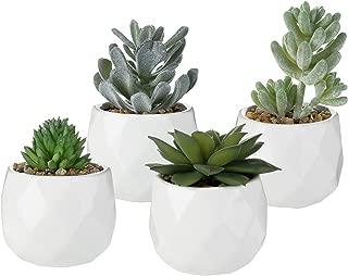 MyGift Assorted Realistic Succulent Plants in Modern Geometric Ceramic Pots, Set of 4