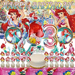 The Little Mermaid 3rd Party Decorations   Ariel   Supplies   Third   Three   Banner   Balloons   For Girl   Backdrop   De...