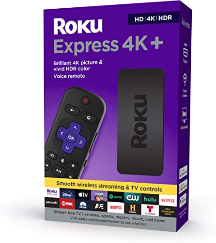 Roku Express 4K+ 2021 | Streaming Media Player HD/4K/HDR with Smooth Wireless Streaming and Roku Voice Remote with TV...