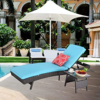 HTTH Outdoor Patio Furniture Adjustable Chaise Lounge Chair Set All-Weather Sun Chaise Lounge Furniture, Black Wicker and Thick Cushion (Blue)