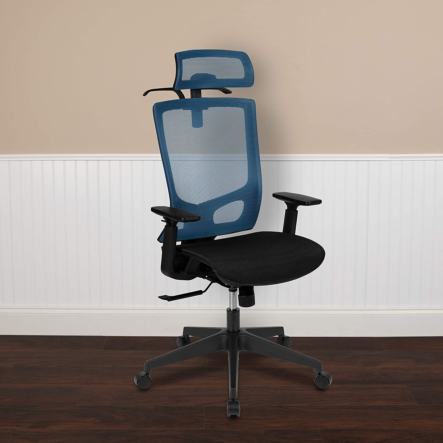 In stock EMMA + Safety and trust OLIVER Ergonomic Blue Pi Chair-Synchro Mesh Black Office