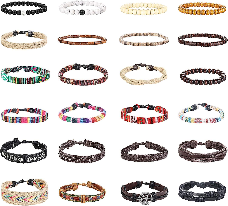 Finrezio 24 Pcs Braided Leather Bracelet Set for Women Men Wristbands Boho Ethnic Tribal Linen Hemp Cords Beads Wrap Bracelets String Handmade Jewelry