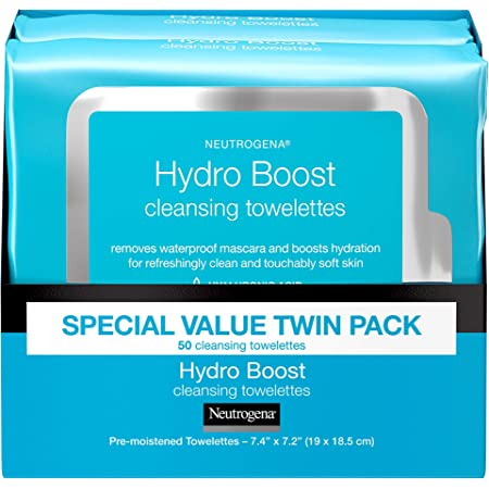 Neutrogena Facial Cleansing Makeup Remover Wipes with Hyaluronic Acid Hydrating PreMoistened Face Towelettes to Cleanse Remove Dirt Makeup Impurities Twin Pack 25 ct, Hydroboost, 50 Count